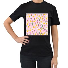 Easter - chick and tulips Women s T-Shirt (Black) (Two Sided)