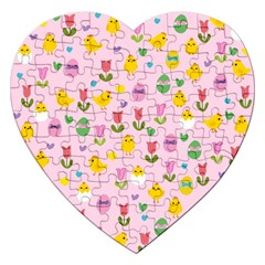 Easter - chick and tulips Jigsaw Puzzle (Heart)