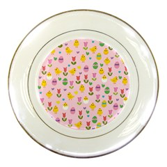 Easter - chick and tulips Porcelain Plates