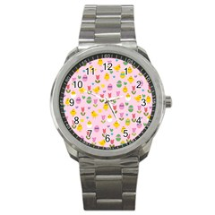 Easter - chick and tulips Sport Metal Watch