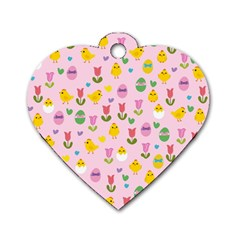 Easter - chick and tulips Dog Tag Heart (One Side)