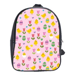 Easter - chick and tulips School Bags(Large)