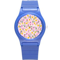 Easter - chick and tulips Round Plastic Sport Watch (S)