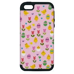 Easter   Chick And Tulips Apple Iphone 5 Hardshell Case (pc+silicone)