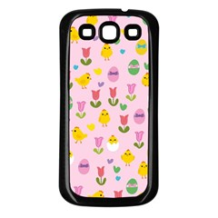 Easter   Chick And Tulips Samsung Galaxy S3 Back Case (black)