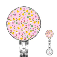 Easter - chick and tulips Stainless Steel Nurses Watch