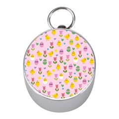 Easter - chick and tulips Mini Silver Compasses