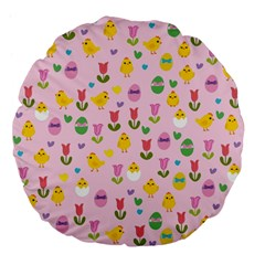 Easter - chick and tulips Large 18  Premium Flano Round Cushions