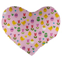 Easter - chick and tulips Large 19  Premium Flano Heart Shape Cushions