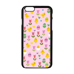 Easter - chick and tulips Apple iPhone 6/6S Black Enamel Case