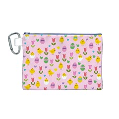 Easter - chick and tulips Canvas Cosmetic Bag (M)