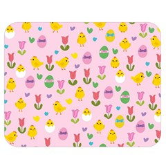 Easter - chick and tulips Double Sided Flano Blanket (Medium)