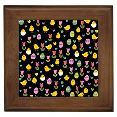 Easter - chick and tulips Framed Tiles