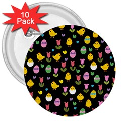 Easter - chick and tulips 3  Buttons (10 pack)