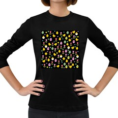 Easter - chick and tulips Women s Long Sleeve Dark T-Shirts