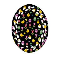 Easter - chick and tulips Ornament (Oval Filigree)