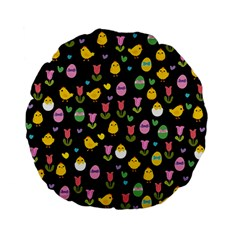 Easter - chick and tulips Standard 15  Premium Flano Round Cushions