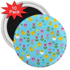 Easter - chick and tulips 3  Magnets (10 pack)