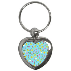 Easter - chick and tulips Key Chains (Heart)