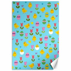 Easter - chick and tulips Canvas 12  x 18