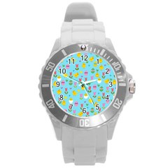 Easter - chick and tulips Round Plastic Sport Watch (L)