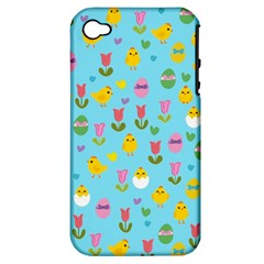 Easter - chick and tulips Apple iPhone 4/4S Hardshell Case (PC+Silicone)