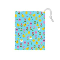 Easter - chick and tulips Drawstring Pouches (Medium)