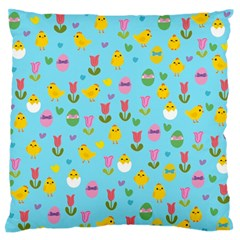 Easter - chick and tulips Large Flano Cushion Case (Two Sides)