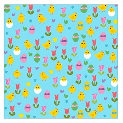 Easter - chick and tulips Large Satin Scarf (Square)