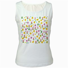Easter - chick and tulips Women s White Tank Top