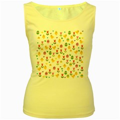Easter - chick and tulips Women s Yellow Tank Top