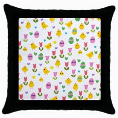 Easter - chick and tulips Throw Pillow Case (Black)