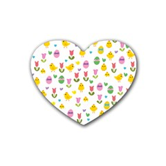Easter - chick and tulips Rubber Coaster (Heart)