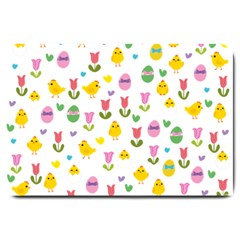 Easter - chick and tulips Large Doormat
