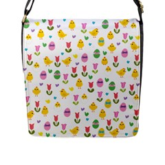 Easter - chick and tulips Flap Messenger Bag (L)