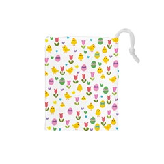 Easter - chick and tulips Drawstring Pouches (Small)