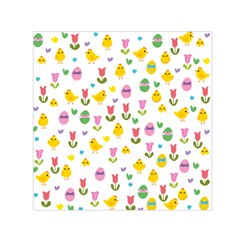 Easter - chick and tulips Small Satin Scarf (Square)