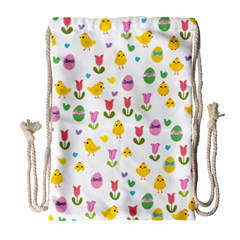 Easter - chick and tulips Drawstring Bag (Large)