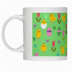 Easter - chick and tulips White Mugs