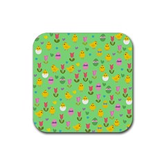 Easter - chick and tulips Rubber Square Coaster (4 pack)