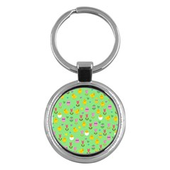 Easter - chick and tulips Key Chains (Round)