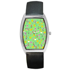 Easter - chick and tulips Barrel Style Metal Watch