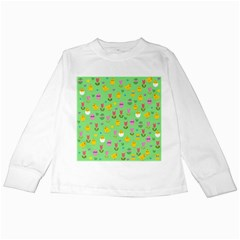 Easter - chick and tulips Kids Long Sleeve T-Shirts