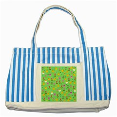 Easter - chick and tulips Striped Blue Tote Bag