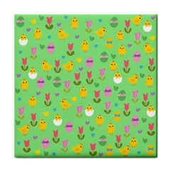 Easter - chick and tulips Face Towel