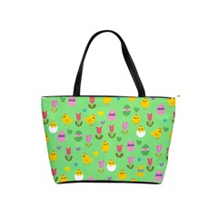 Easter - chick and tulips Shoulder Handbags