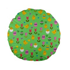 Easter - chick and tulips Standard 15  Premium Round Cushions
