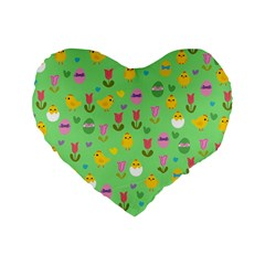 Easter - chick and tulips Standard 16  Premium Heart Shape Cushions