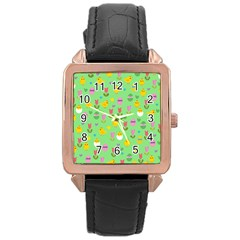 Easter - chick and tulips Rose Gold Leather Watch