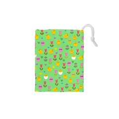 Easter   Chick And Tulips Drawstring Pouches (xs)